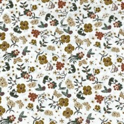 Bomullspoplin Sommerblomst - hvit