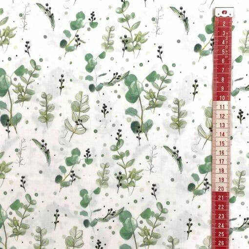 Fast bomull - Eucalyptus - hvit