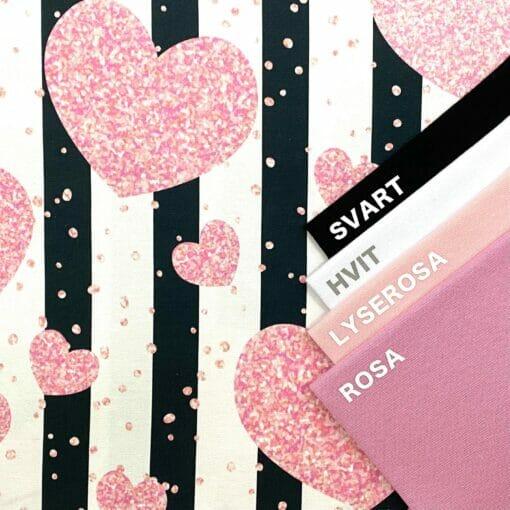 Jersey - Glitterhjerter på striper
