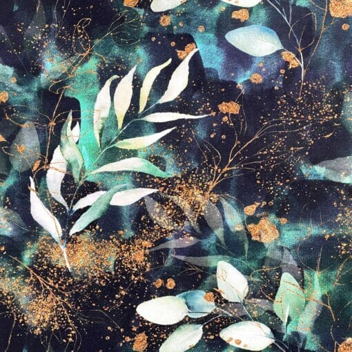 Jersey - Blader i aquarell og gullglitter - svart