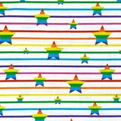 Jersey – Stripete regnbuestjerner - hvit
