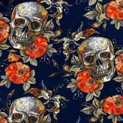 Jersey – Hodeskaller og blomster - svart