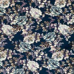 Jersey – Villblomster - Marineblå