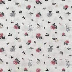 Jersey – Olivia blomster - hvit