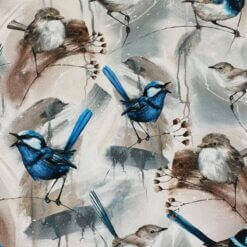 French Terry - Birds blå - Mainelakeus