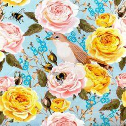 Jersey - Roser med humle og trost - lyseblå