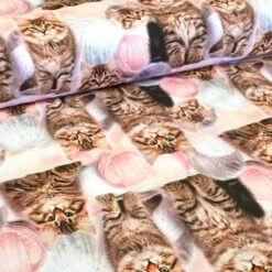 Jersey - Katter med nøste - rosa