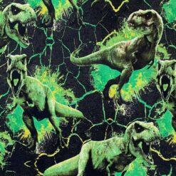 French Terry - Dinosaurus Tyrano grønn
